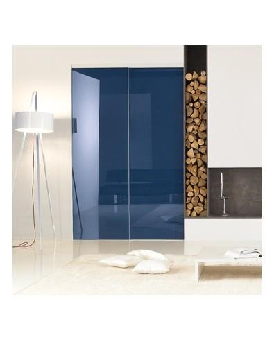 Porte coulissante bleue
